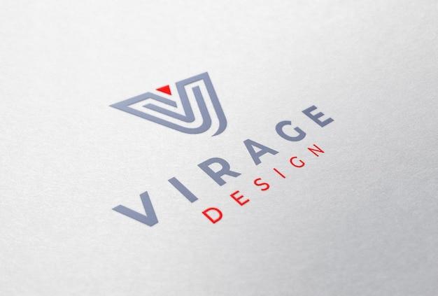 Logo mockup farbiges logo auf weißem papier