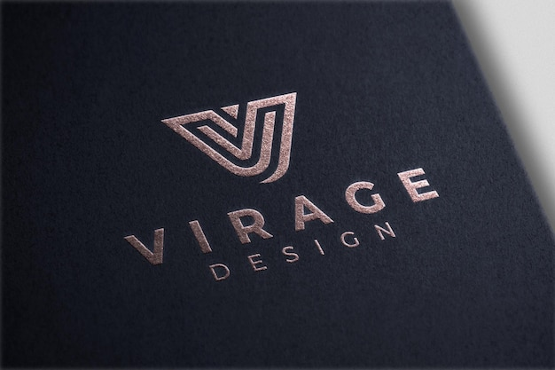 Logo mockup folienprägung roségold logo auf schwarzem papier