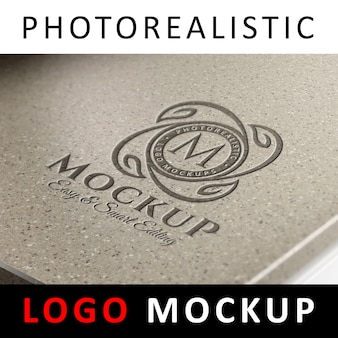 Logo mockup - graviertes logo auf granitoberfläche