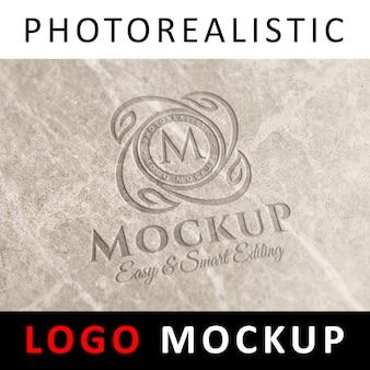 Logo mockup - graviertes logo auf marmor