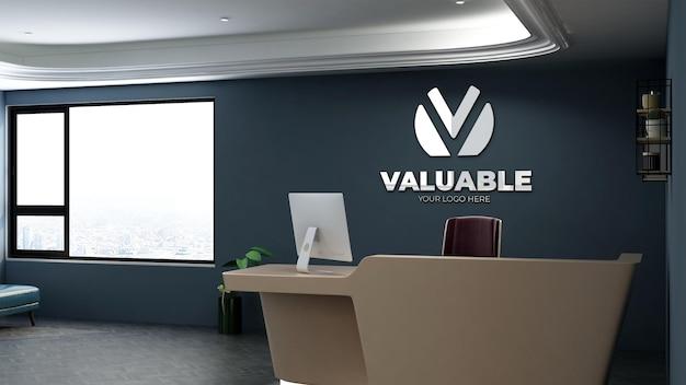 Logo-mockup in der bürorezeption mit minimalistischem und elegantem design-interieur