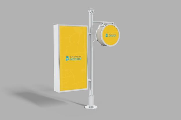 Logo-mockup-kreisschild und billboard-mockup mit veränderbarem hintergrund