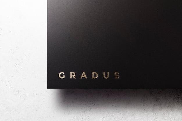 Logo mockup luxus schwarz papier gold