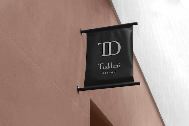 Logo mockup modern flag sign