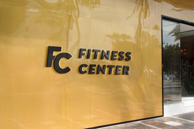 Logo mockup modern yellow facade sign