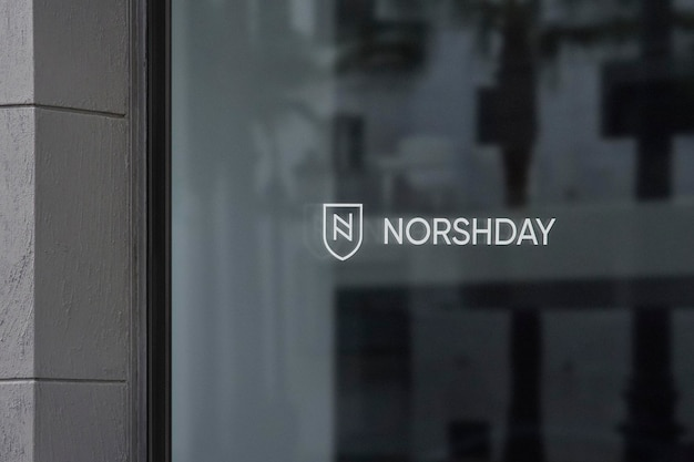 Logo mockup office window sign graue wand