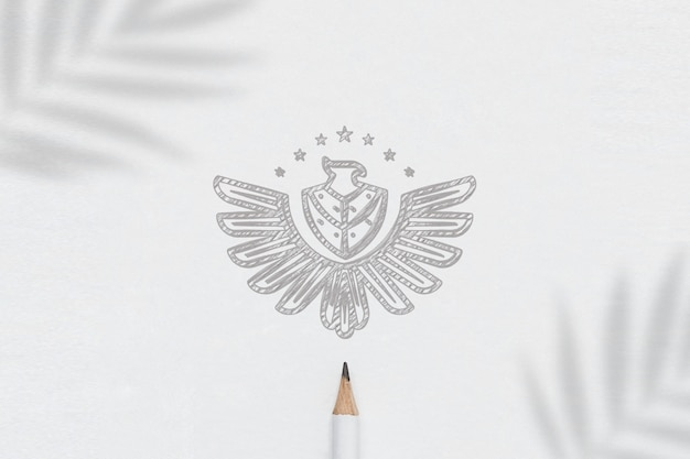 Logo mockup paper skecth minimalist