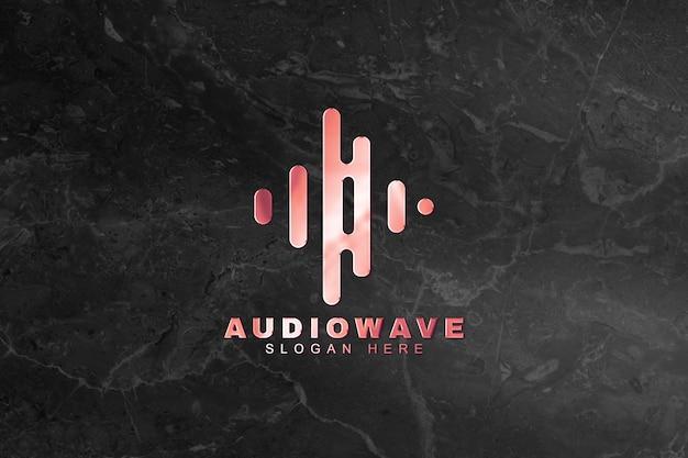 Logo-mockup-psd für die musikindustrie prägen