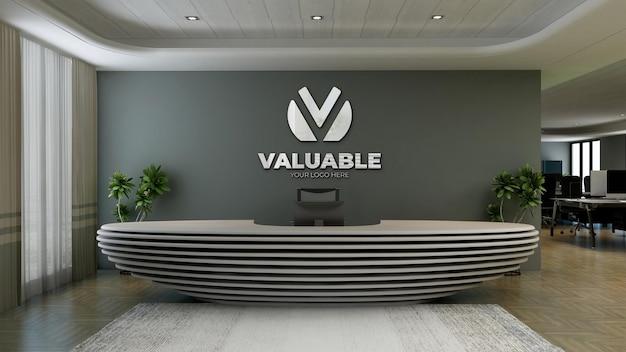 Logo-mockup-schild im büro an der rezeption des arbeitsplatzes