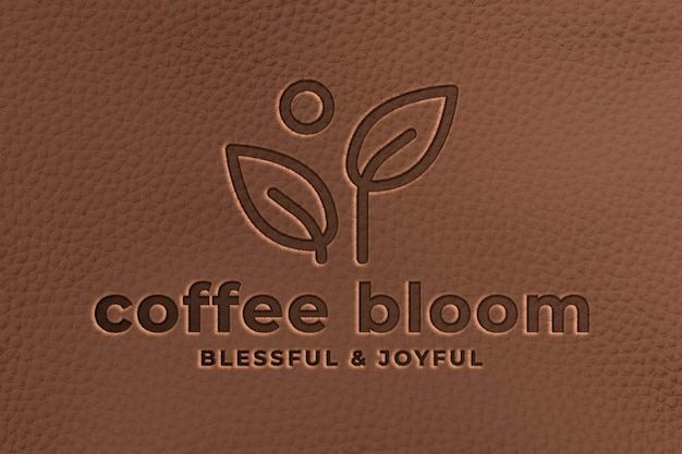 Logo-mockup-umgebung psd, realistisches lederdesign