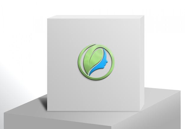 Logo mockup white box luxus
