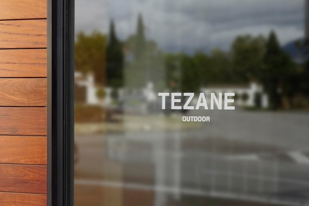 Logo mockup window sign holzwand