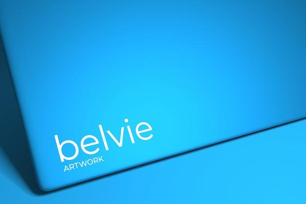 Logo-modell auf blauem hintergrund