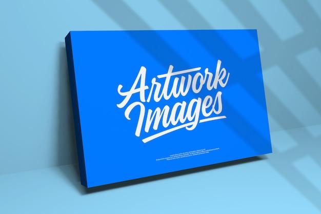 Logo-modell auf der blauen box