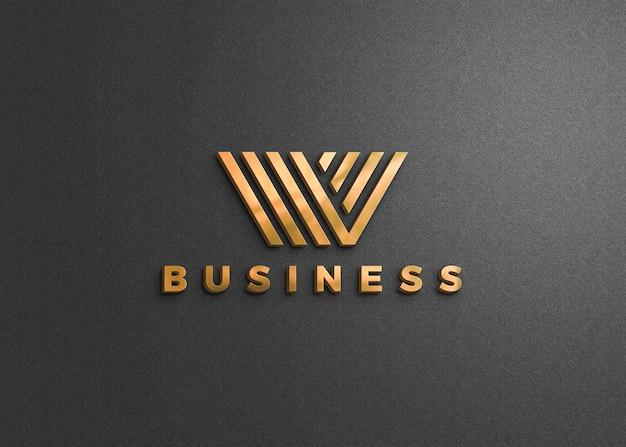 Logo-modell auf dunkelgrauer wand
