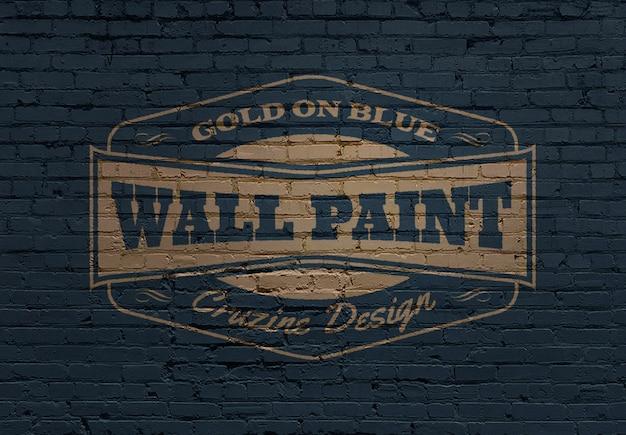 Logo-modell auf gemauerter mauer