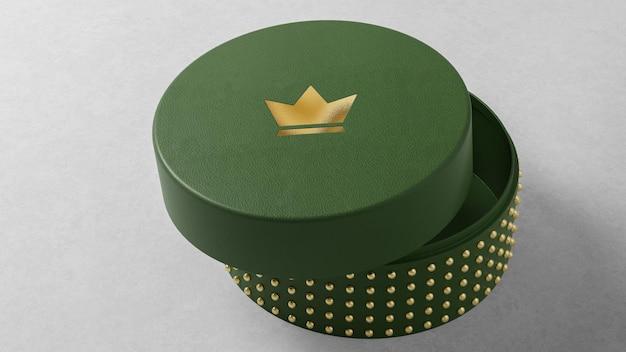 Logo-modell auf grünem runden schmuckschachteltisch