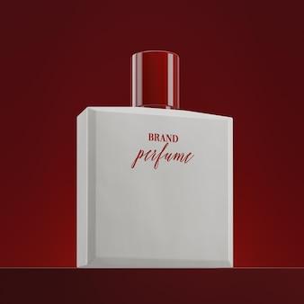 Logo-modell auf rotem hintergrund der parfümflasche