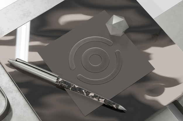 Logo-modell auf strukturiertem quadratischem papier mit 3d-rendering