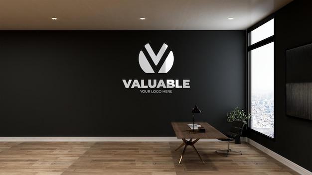 Logo-modell im geschäftsraum des büroarbeitsbereichs