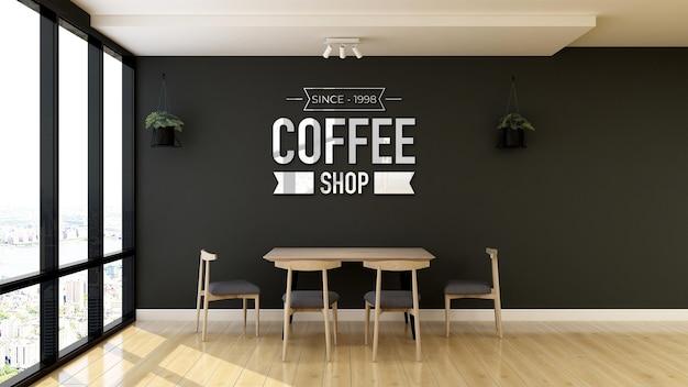 Logo-modell in der coffeeshop-wandbeschilderung