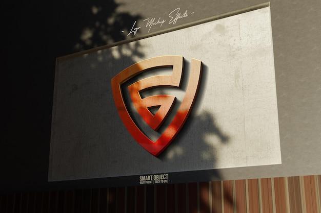 Logo-modell mit 3d-logo in der wand