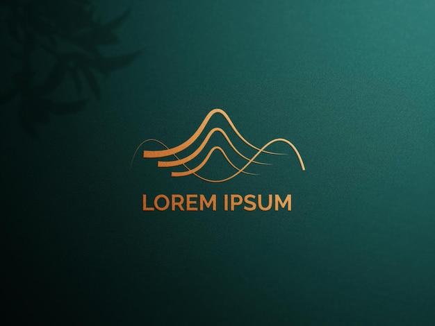 Logo-modell mit goldenem logo