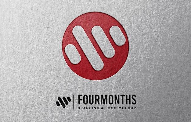 Logo-modell mit papierprägeeffekt