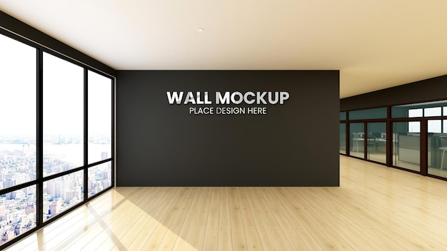 Logo modell zeichen büro schwarze wand