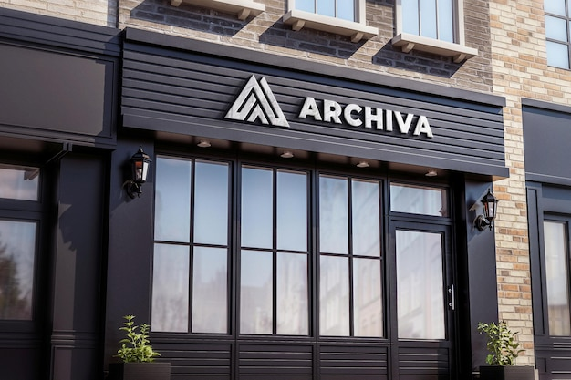 Logo shop sign mockup realistic black store