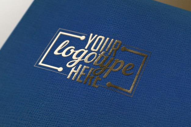 Logo-vorlage auf blauem buch
