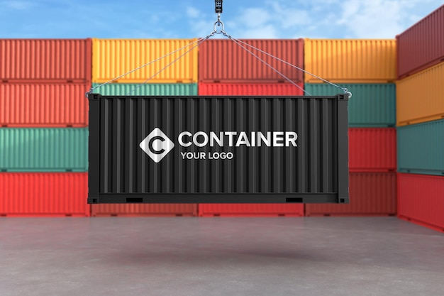 Logomodell auf frachtcontainer