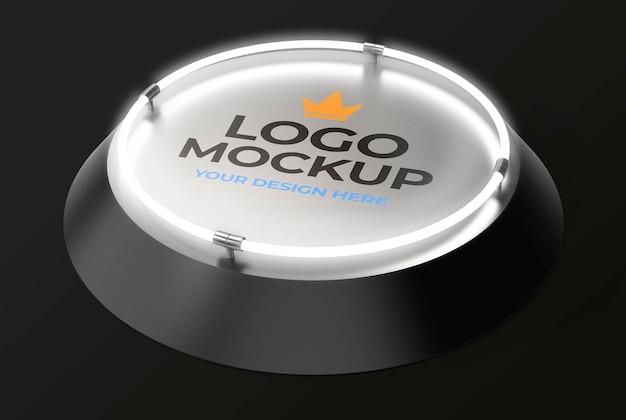 Logomodell auf futuristischer runder plattform mit lichtern