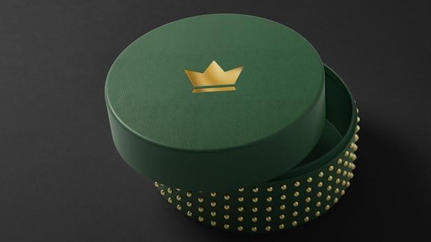 Logomodell auf grüner schmuckuhrenbox 3d-rendering