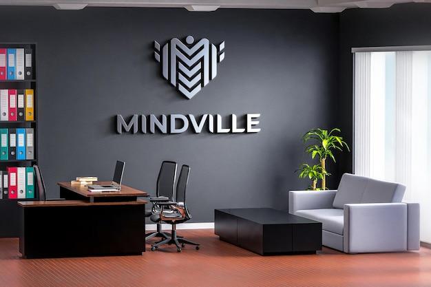 Logomodell büroraum auf schwarzer wand realistisch