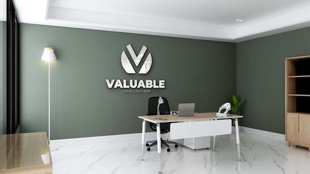Logomodell im grünen raum des büroleiters