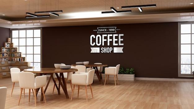 Logomodell in der wandbeschilderung des cafés