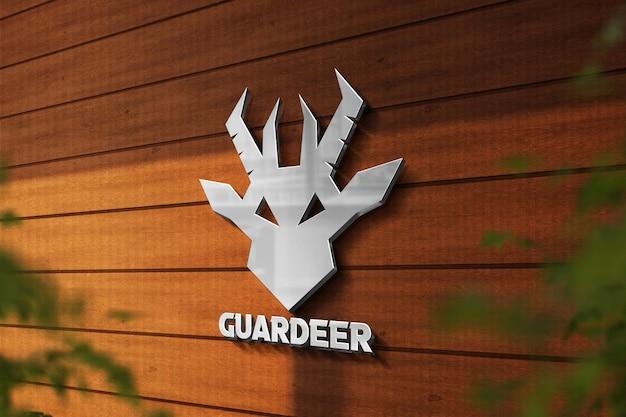 Logomodell mit 3d-logo in der wand