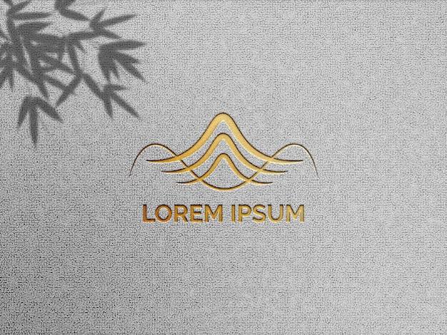 Logomodell mit letterpress-effekt und schatten