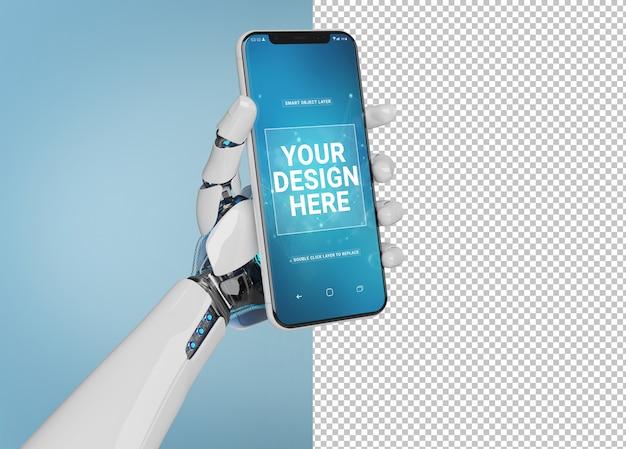 Lokalisierte herausgeschnittene weiße roboterhand, die modernes smartphonemodell hält