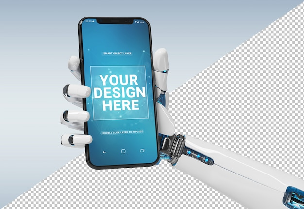 Lokalisierte weiße roboterhand, die modernes smartphonemodell hält
