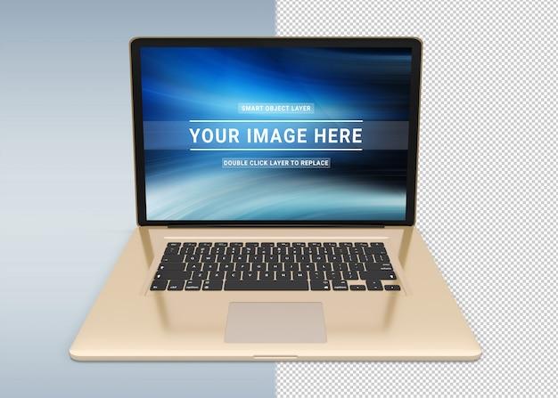 Lokalisierter herausgeschnittener goldener laptop mit schattenmodell