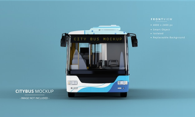 Long city bus mockup vorderansicht