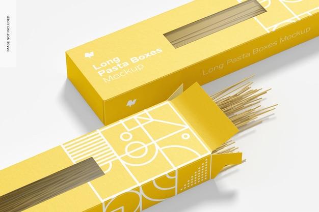 Long pasta boxes mockup, nahaufnahme
