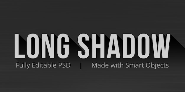 Long shadow editable text style effect mockup