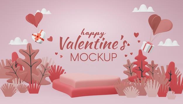 Lovely happy valentines day mockup-konzept in 3d-rendering