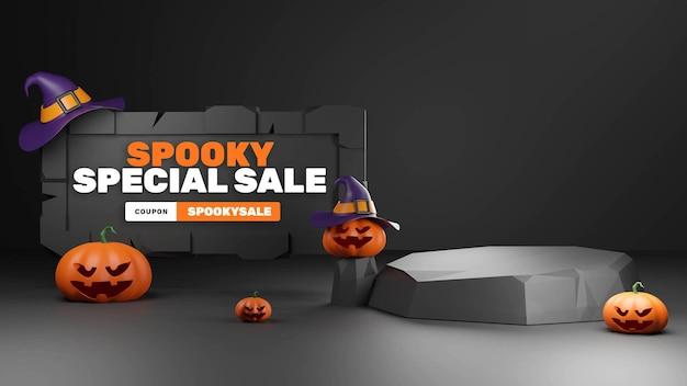 Lowpoly 3d halloween podium produktdisplay