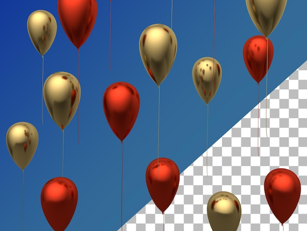 Luftballons 3d gerendertes rotes gold lokalisiert
