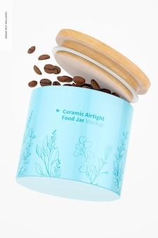 Luftdichtes glas-mockup aus keramik, schwimmend