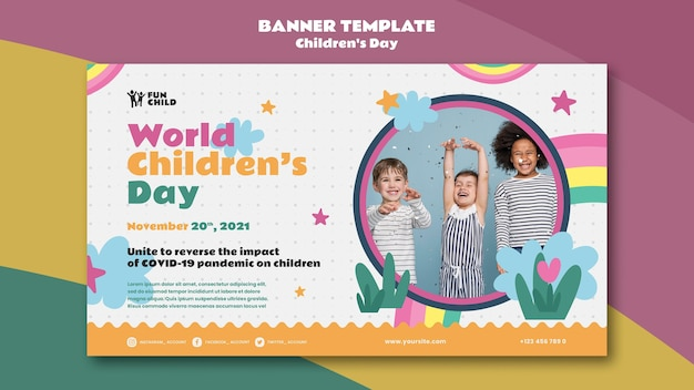 Lustige bunte horizontale bannervorlage für den kindertag